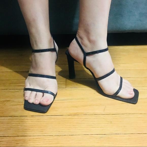 f00b0527c5 Nine West Shoes | Gabelle Black Strappy Sandals Heels 85 | Poshmark